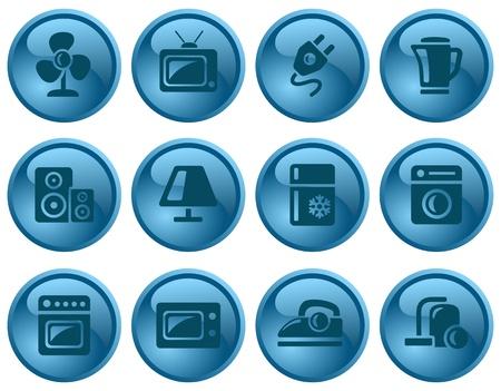 gas cooker: Home electronics button set Illustration