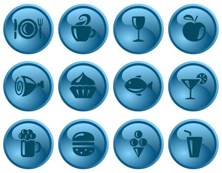 Food and drinks button set Stock Vector - 16423586