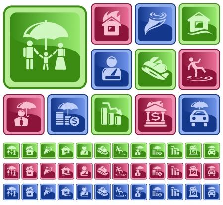 auto insurance: Insurance button set Illustration