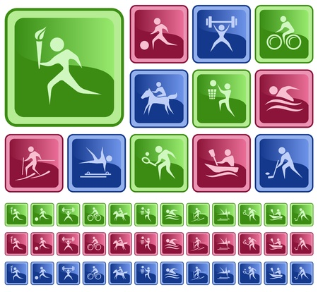 Sport button set Stock Vector - 16641428