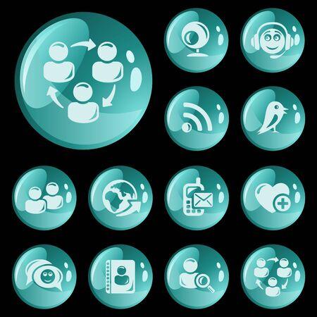 Social network button set Stock Vector - 16721790