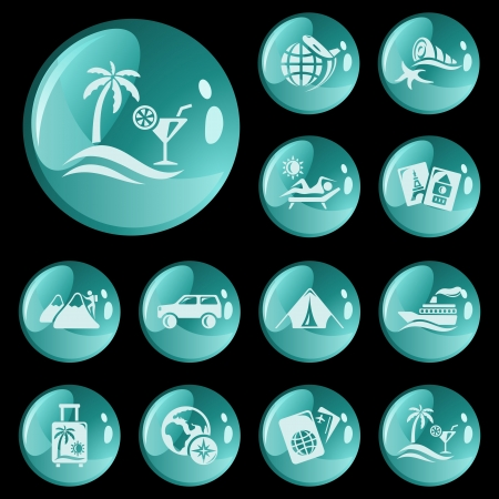 Vacations button set Stock Vector - 16723269