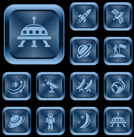 Space button set Stock Vector - 17239366