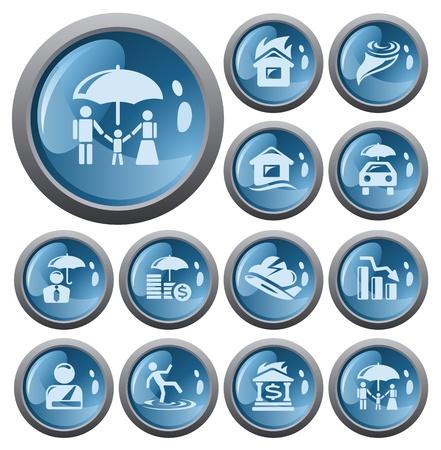 Insurance button set Stock Vector - 17773454