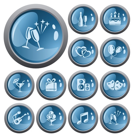 Party button set Stock Vector - 17773446