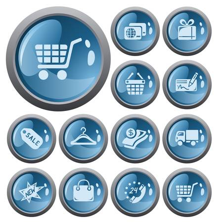 Shopping button set Stock Vector - 17773448