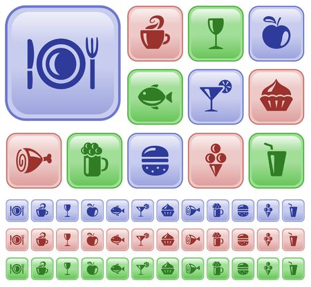 Food and drinks button set Stock Vector - 18309654
