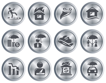 Insurance button set Illustration
