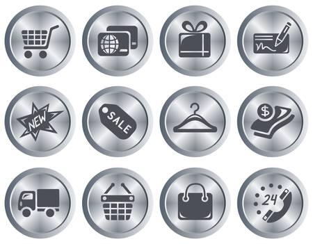 Shopping button set Stock Vector - 18418026