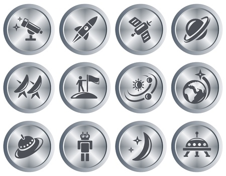 Space button set Vector
