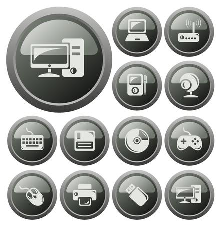 Hardware button set Vector