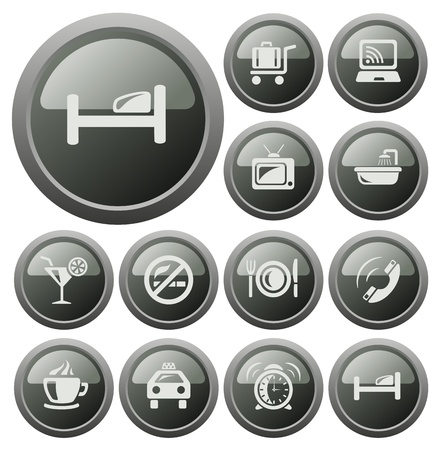 Hotel button set Vector