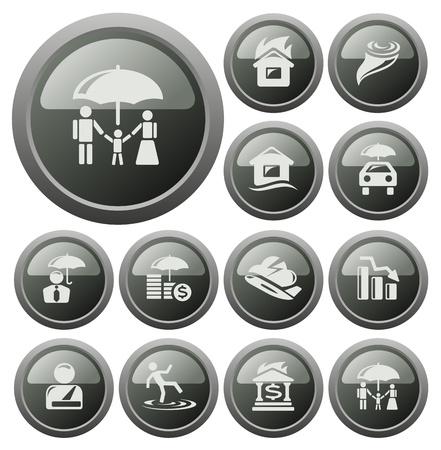 Insurance button set Stock Vector - 18539971
