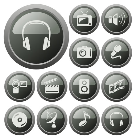 vynil: Multimedia button set Illustration