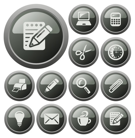 Office button set Vector