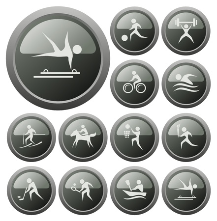 Sport button set Stock Vector - 18539917