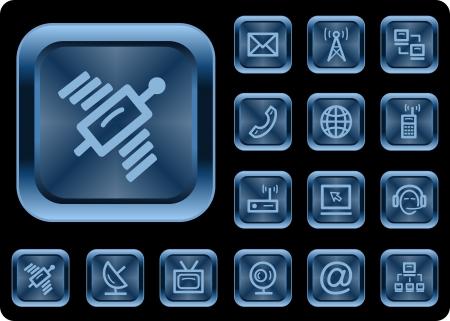 Communication button set Vetores
