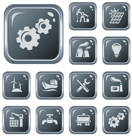 Industrial button set Stock Vector - 21136281