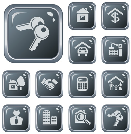 Real estate button set Vector