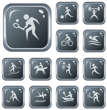 Sport button set Vector