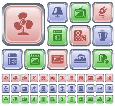 ventilator: Home electronics button set Illustration