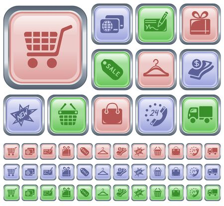 Shopping button set Vector