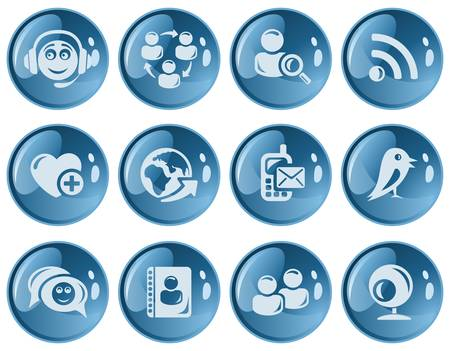 Social network button set Vector
