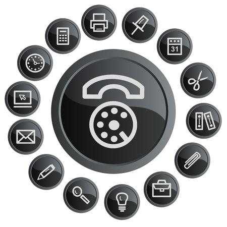 button set: Office-Schaltfl?che Set Illustration