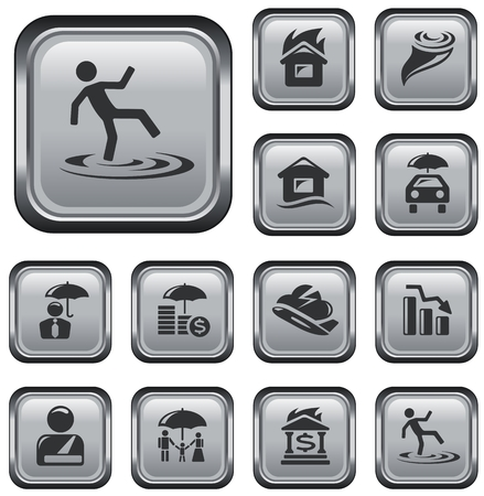 Insurance button set Stock Vector - 22959797