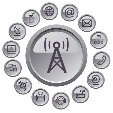 Communication button set Stock Vector - 23103144