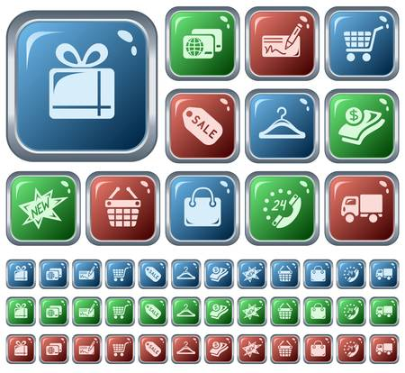 Shopping button set Stock Vector - 23124596