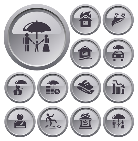 Insurance button set Stock Vector - 23925054