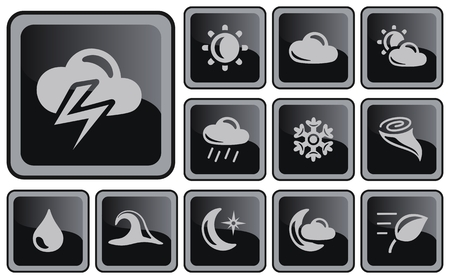 Weather button set Vector