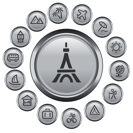 Travel button set Illustration