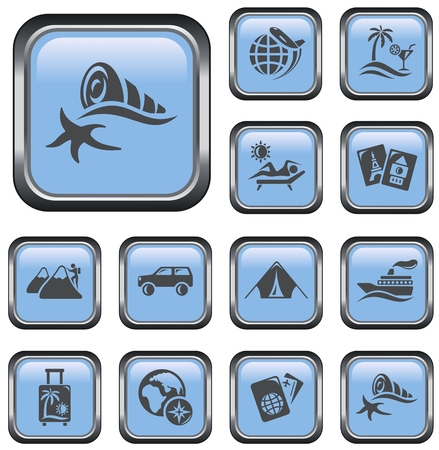 Vacations button set Vector