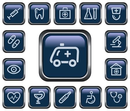 Medical button set Vector