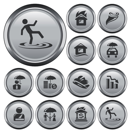 Insurance button set Vector