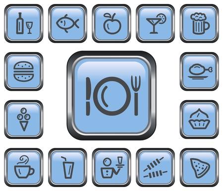 Food and drink button set Illusztráció