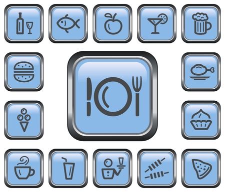 Food and drink button set Illustration