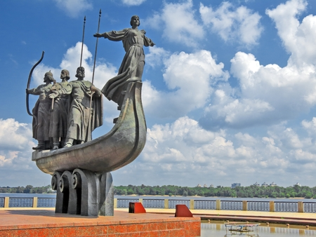 Monument to city founders in Kiev, Ukraine