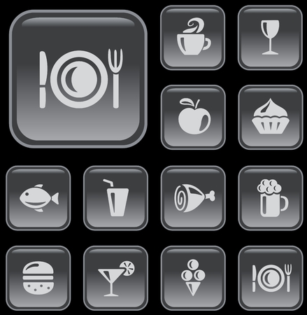 Food and drink button set Vector
