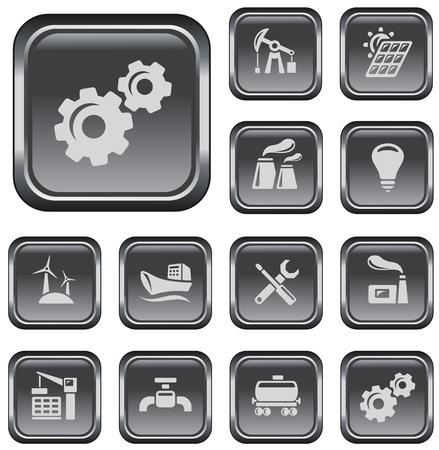 Industrial button set Vector