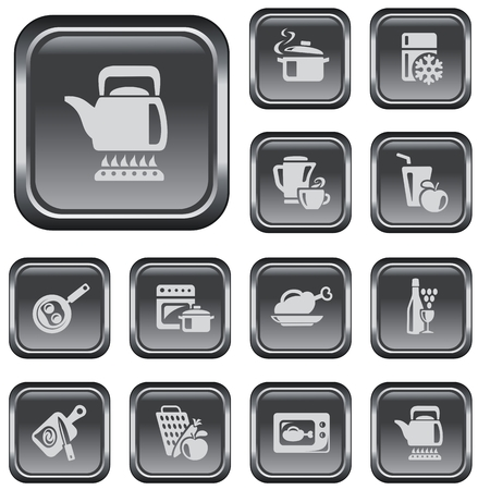 Kitchen and cooking button set Vector