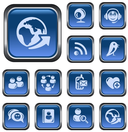 Social network button set Vector
