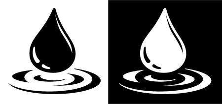 blanco y negro: Icono de la gota de agua