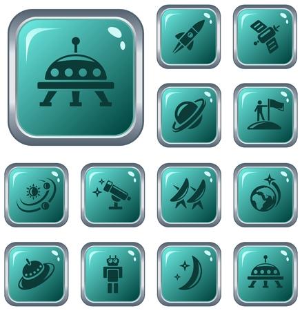 Space button set Vector