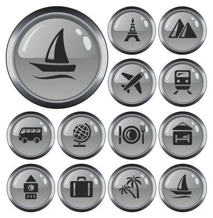 Travel button set Ilustração