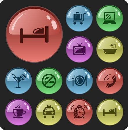 Hotel button set Vector