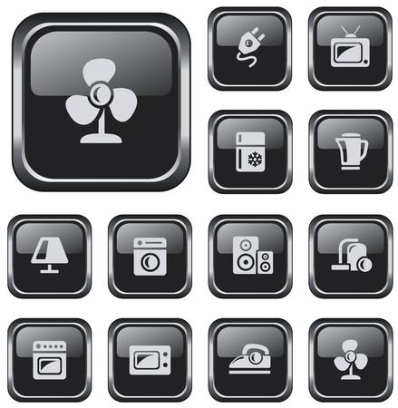 button set: Home electronics button set Illustration