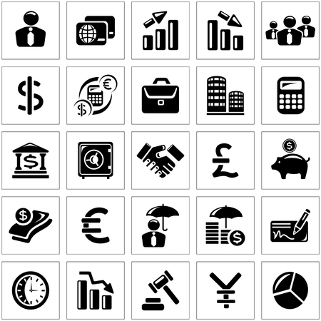 auctioning: Business and finance icon set Illustration